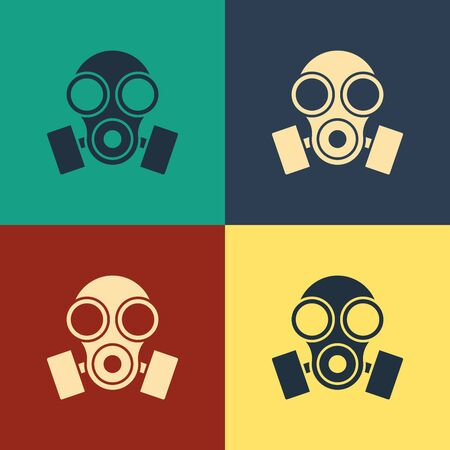 Color Gas mask icon isolated on color background. Respirator sign. Vintage style drawing. Vector Illustration