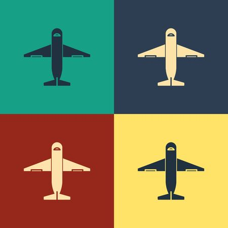 Color Plane icon isolated on color background. Delivery, transportation. Cargo delivery by air. Airplane with parcels, boxes. Vintage style drawing. Vector Illustration