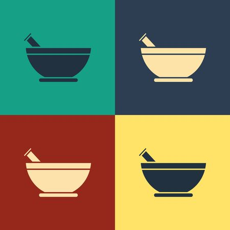 Color Mortar and pestle icon isolated on color background. Vintage style drawing. Vector Illustration  イラスト・ベクター素材