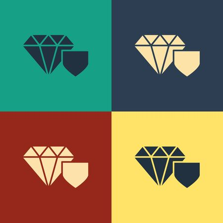 Color Diamond with shield icon isolated on color background. Jewelry insurance concept. Security, safety, protection, protect concept. Vintage style drawing. Vector Illustration Ilustrace