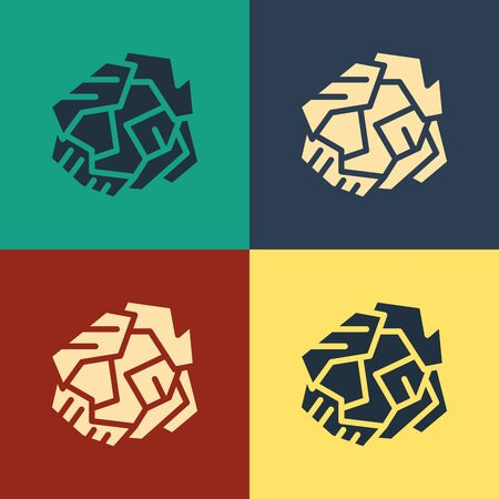 Color Crumpled paper ball icon isolated on color background. Vintage style drawing. Vector Illustration Illustration