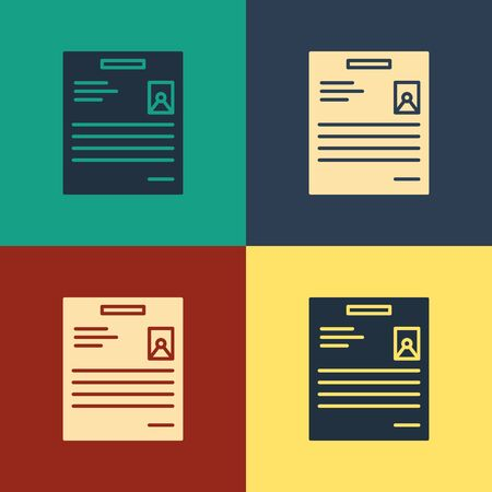 Color Personal document icon isolated on color background. File icon. Checklist icon. Business concept. Vintage style drawing. Vector Illustration