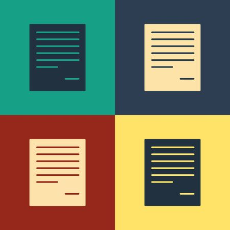 Color Document icon isolated on color background. File icon. Checklist icon. Business concept. Vintage style drawing. Vector Illustration 일러스트