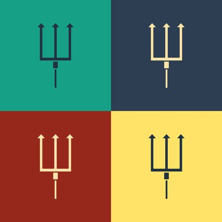 Color Neptune Trident icon isolated on color background. Vintage style drawing. Vector Illustration