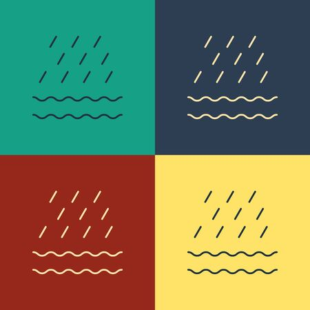 Color Rain and waves icon isolated on color background. Rain cloud precipitation with rain drops. Vintage style drawing. Vector Illustration