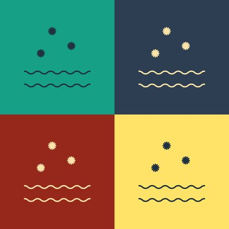 Color Cold and waves icon isolated on color background. Vintage style drawing. Vector Illustration