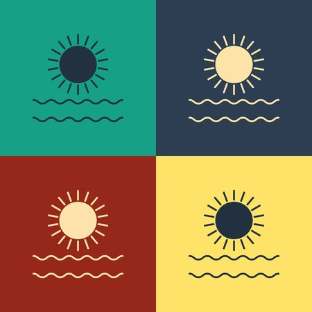 Color Sun and waves icon isolated on color background. Vintage style drawing. Vector Illustration 일러스트