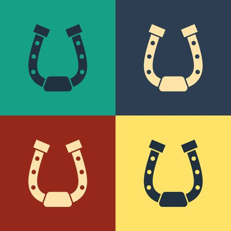 Color Horseshoe icon isolated on color background. Vintage style drawing. Vector Illustration