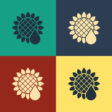 Color Sunflower icon isolated on color background. Vintage style drawing. Vector Illustration Çizim