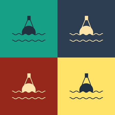 Color Floating buoy on the sea icon isolated on color background. Vintage style drawing. Vector Illustration