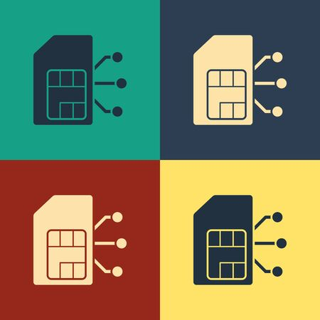 Color Sim card icon isolated on color background. Mobile cellular phone sim card chip. Mobile telecommunications technology symbol. Vintage style drawing. Vector Illustration 일러스트