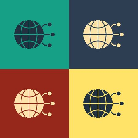 Color Global technology or social network icon isolated on color background. Vintage style drawing. Vector Illustration