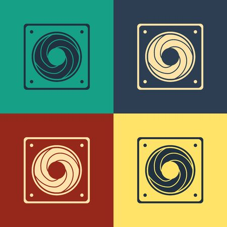 Color Computer cooler icon isolated on color background. PC hardware fan. Vintage style drawing. Vector Illustration Zdjęcie Seryjne - 132614421