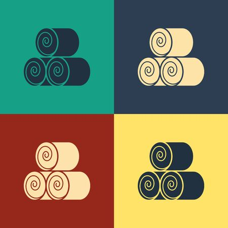 Color Roll of hay icon isolated on color background. Vintage style drawing. Vector Illustration