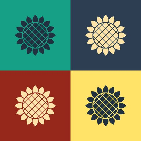 Color Sunflower icon isolated on color background. Vintage style drawing. Vector Illustration Stok Fotoğraf - 132614530