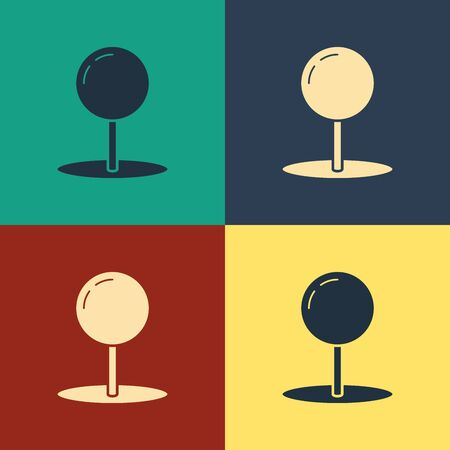 Color Push pin icon isolated on color background. Thumbtacks sign. Vintage style drawing. Vector Illustration