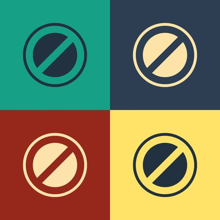Color Stop sign icon isolated on color background. Traffic regulatory warning stop symbol. Vintage style drawing. Vector Illustration