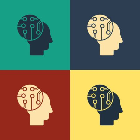 Color Human brain as digital circuit board icon isolated on color background. Human head outline with circuit lines inside. Vintage style drawing. Vector Illustration 일러스트