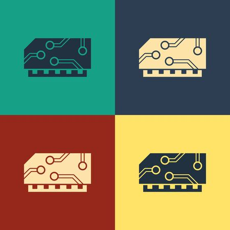 Color RAM, random access memory icon isolated on color background. Vintage style drawing. Vector Illustration