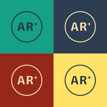 Color Ar, augmented reality icon isolated on color background. Vintage style drawing. Vector Illustration 일러스트