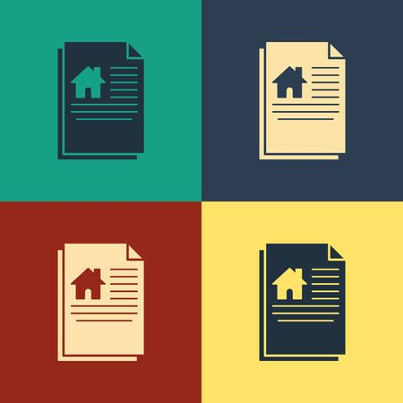 Color House contract icon isolated on color background. Contract creation service, document formation, application form composition. Vintage style drawing. Vector Illustration Vector Illustratie