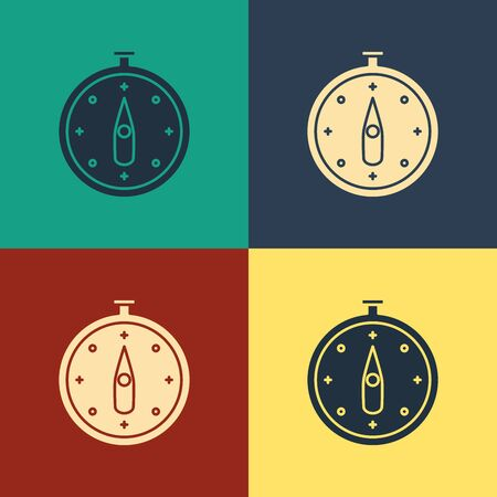 Color Compass icon isolated on color background. Windrose navigation symbol. Wind rose sign. Vintage style drawing. Vector Illustration
