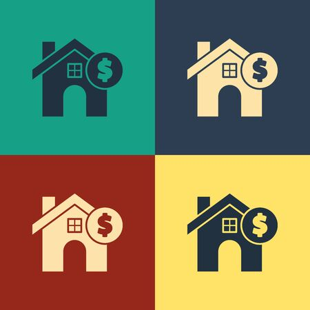 Color House with dollar symbol icon isolated on color background. Home and money. Real estate concept. Vintage style drawing. Vector Illustration