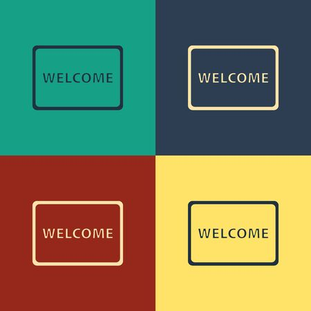 Color Doormat with the text Welcome icon isolated on color background. Welcome mat sign. Vintage style drawing. Vector Illustration