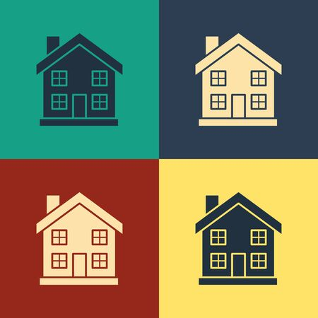 Color House icon isolated on color background. Home symbol. Vintage style drawing. Vector Illustration