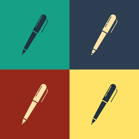 Color Pen icon isolated on color background. Vintage style drawing. Vector Illustration 向量圖像