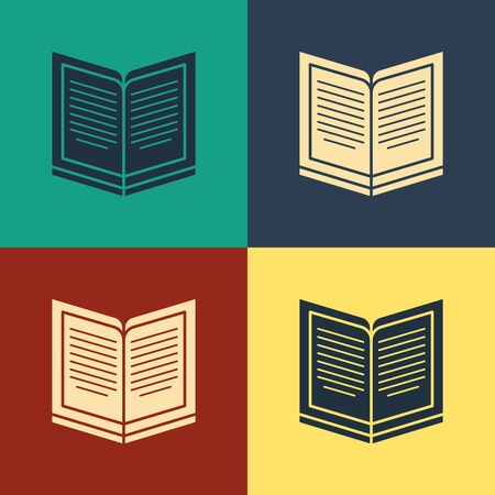 Color Open book icon isolated on color background. Vintage style drawing. Vector Illustration