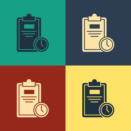 Color Exam sheet with clock icon isolated on color background. Test paper, exam, or survey concept. School test or exam. Vintage style drawing. Vector Illustration