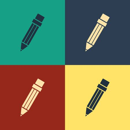Color Pencil with eraser icon isolated on color background. Drawing and educational tools. School office symbol. Vintage style drawing. Vector Illustration