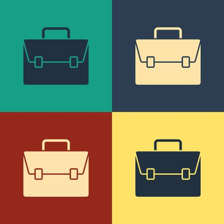 Color Briefcase icon isolated on color background. Business case sign. Business portfolio. Vintage style drawing. Vector Illustration