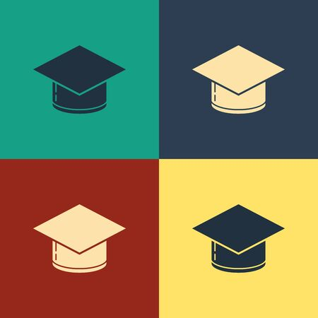 Color Graduation cap icon isolated on color background. Graduation hat with tassel icon. Vintage style drawing. Vector Illustration  イラスト・ベクター素材