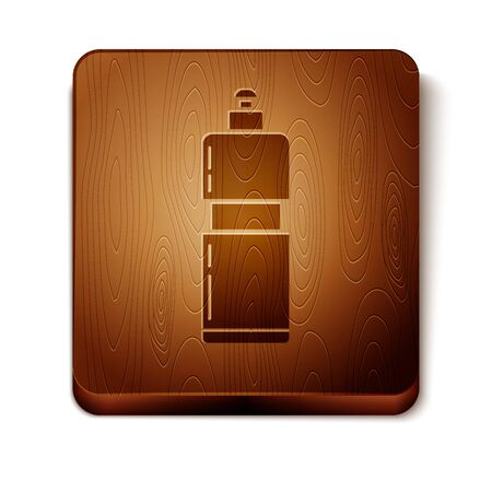 Brown Plastic bottle for liquid laundry detergent, bleach, dishwashing liquid or another cleaning agent icon isolated on white background. Wooden square button. Vector Illustration