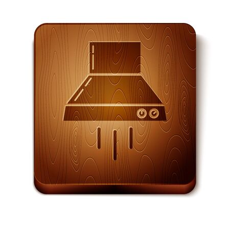 Brown Kitchen extractor fan icon isolated on white background. Cooker hood. Kitchen exhaust. Household appliance. Wooden square button. Vector Illustration Vectores