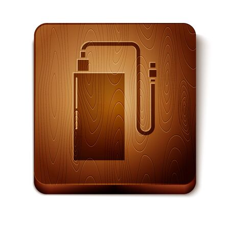Brown Power bank with different charge cable icon isolated on white background. Portable charging device. Wooden square button. Vector Illustration Stock Illustratie