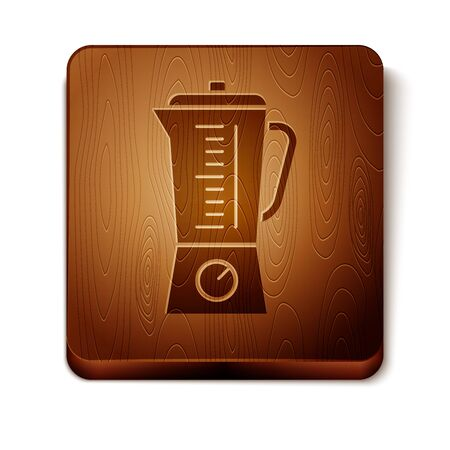 Brown Blender icon isolated on white background. Kitchen electric stationary blender with bowl. Cooking smoothies, cocktail or juice. Wooden square button. Vector Illustration