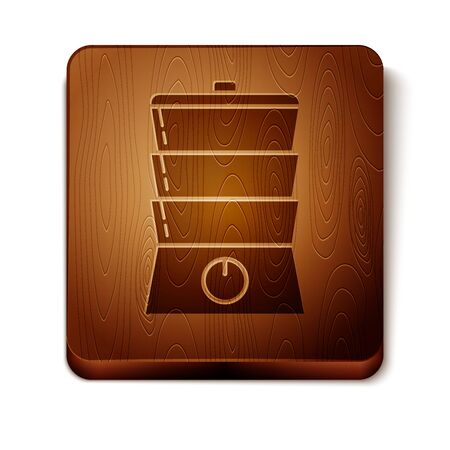Brown Double boiler icon isolated on white background. Wooden square button. Vector Illustration