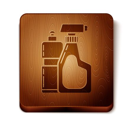 Brown Plastic bottles for liquid laundry detergent, bleach, dishwashing liquid or another cleaning agent icon isolated on white background. Wooden square button. Vector Illustration