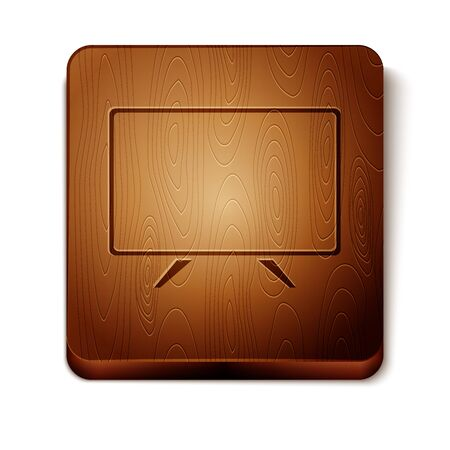 Brown Smart Tv icon isolated on white background. Television sign. Wooden square button. Vector Illustration