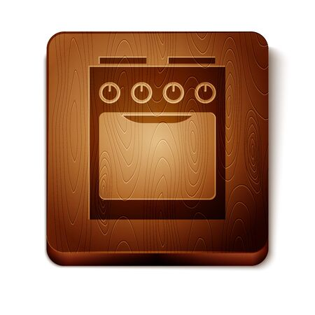 Brown Oven icon isolated on white background. Stove gas oven sign. Wooden square button. Vector Illustration