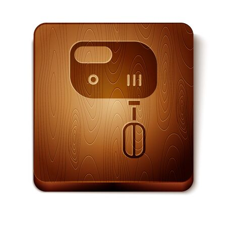 Brown Electric mixer icon isolated on white background. Kitchen blender. Wooden square button. Vector Illustration