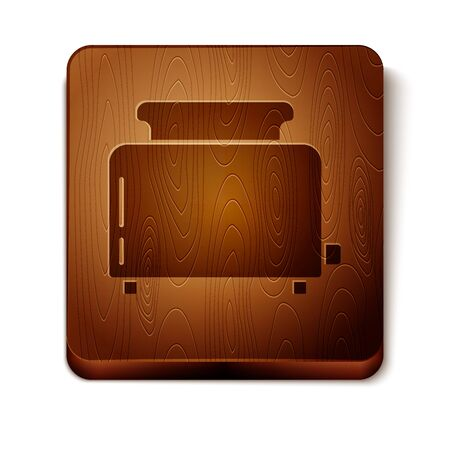 Brown Toaster with toasts icon isolated on white background. Wooden square button. Vector Illustration Illustration