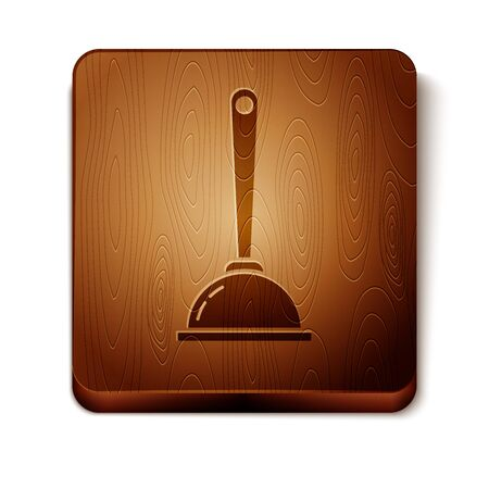 Brown Rubber plunger with wooden handle for pipe cleaning icon isolated on white background. Toilet plunger. Wooden square button. Vector Illustration