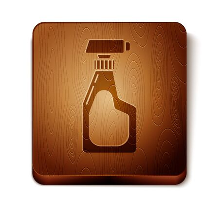 Brown Cleaning spray bottle with detergent liquid icon isolated on white background. Wooden square button. Vector Illustration