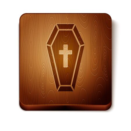 Brown Coffin with christian cross icon isolated on white background. Happy Halloween party. Wooden square button. Vector Illustration