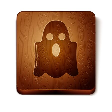 Brown Ghost icon isolated on white background. Happy Halloween party. Wooden square button. Vector Illustration