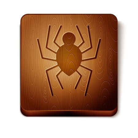 Brown Spider icon isolated on white background. Happy Halloween party. Wooden square button. Vector Illustration Illustration